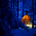Tältkåta i Aurora camp utanför Luleå. Bild: Fredrik Broman, Human Spectra
